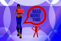 3d Women with need more time illustration Stock Photo