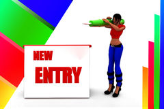 3d women new entry registration Royalty Free Stock Photos
