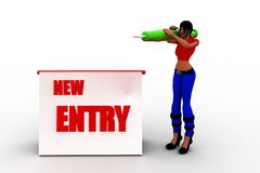 3d women new entry registration Stock Photos