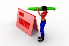 3d women new entry registration Stock Images