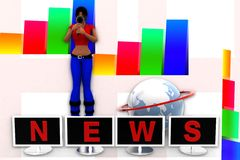 3d women news illustration Stock Images