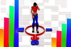 3d women news illustration Royalty Free Stock Photo