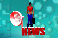 3d women news illustration Stock Photos