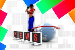 3d women news illustration Stock Image
