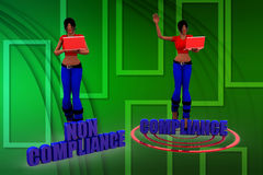 3d women with Non Compliance And Compliance on a target illustration Stock Images