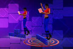 3d women with Non Compliance And Compliance on a target illustration Royalty Free Stock Photo