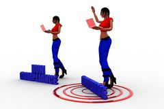 3d women with Non Compliance And Compliance on a target Royalty Free Stock Images