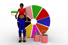 3D women painting pie chart Stock Photo