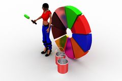3D women painting pie chart Stock Images