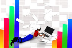 3D women paper and laptop illustration Royalty Free Stock Photo