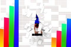 3D women paper and laptop illustration Stock Photos