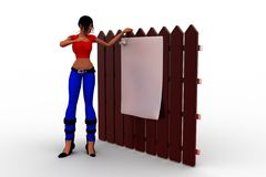 3d women paper wooden wall illustration Stock Photo