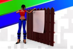 3d women paper wooden wall illustration Stock Photography