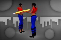 3d women pen hold over illustration Stock Images