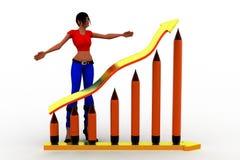 3d Women Pencil Graph Illustration Stock Photography