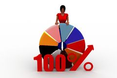 3d women 100% pie chart concept Royalty Free Stock Images