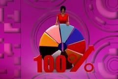 3d women 100% pie chart illustration Stock Image