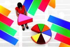 3D women pie chart illustration Royalty Free Stock Photos
