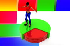 3d women pie chart illustration Stock Photo