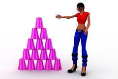 3D Women  Plastic Cup Stock Images