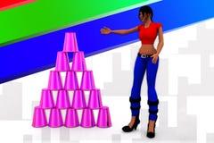 3D Women  Plastic Cup Illustration Stock Photography