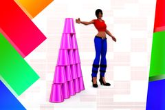 3D Women  Plastic Cup Illustration Stock Images