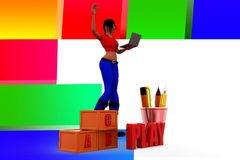3d women play illustration Royalty Free Stock Photos