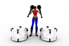 3d women playing drums Royalty Free Stock Image