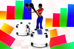3d women playing drums illustration Stock Image