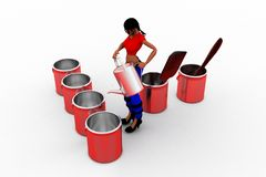 3d women  pouring water into  can Stock Photos