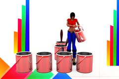 3d women  pouring water into  can illustration Stock Photo
