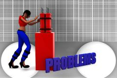 3d women problems illustration Stock Images