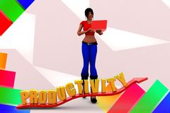 3d women productivity illustration Royalty Free Stock Image