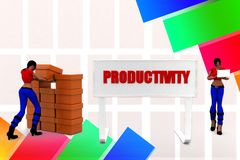 3d women productivity illustration Stock Images