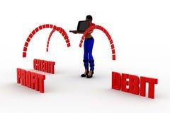 3d women profit debit credit Royalty Free Stock Images