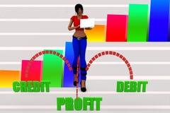 3d women profit debit credit illustration Royalty Free Stock Photography