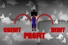 3d women profit debit credit illustration Royalty Free Stock Photos