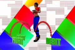 3d women profit debit credit illustration Royalty Free Stock Image