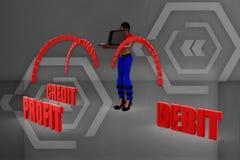 3d women profit debit credit illustration Stock Photos