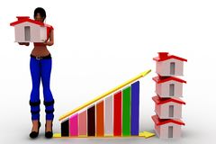 3d Women Profit graph and house Royalty Free Stock Photo