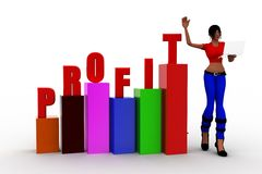 3d women  profit graph  statics Royalty Free Stock Photo