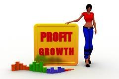 3d women  profit graph  statics Stock Photo