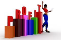 3d women  profit graph  statics Stock Images