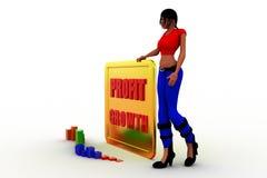 3d women  profit graph  statics Royalty Free Stock Image