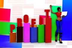 3d women  profit graph  statics illustration Royalty Free Stock Image