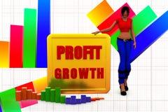 3d women  profit graph  statics illustration Royalty Free Stock Image