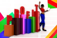 3d women  profit graph  statics illustration Royalty Free Stock Photo