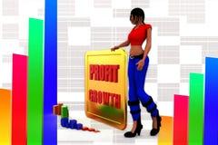3d women  profit graph  statics illustration Stock Photo