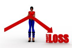 3d women profit loss Stock Photos