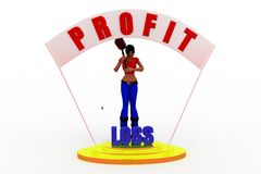 3d women  profit loss Royalty Free Stock Photos